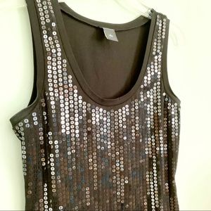 Ann Taylor Black Sequined Tank Top S